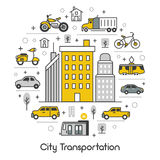 Linea Art Thin Icons Set del trasporto della città Immagine Stock