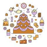 Linea Art Thin Icons Set dell'alimento dei dolci e dei dessert con il dolce ed il bigné Fotografia Stock Libera da Diritti