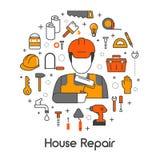 Linea Art Thin Icons Set di rinnovamento di riparazione della Camera con il riparatore e gli strumenti Fotografia Stock