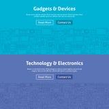 Linea Art Web Banners Set dei dispositivi e degli aggeggi Fotografia Stock