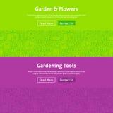 Linea Art Web Banners Set dei fiori e del giardino Fotografie Stock Libere da Diritti