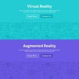 Linea Art Web Banners Set di realtà virtuale Immagini Stock