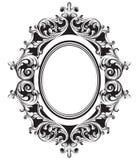 Linea arte barrocco della struttura dello specchio Ornamenti complessi ricchi di lusso francesi di vettore Decorazioni reali vitt illustrazione di stock