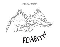 Linea arte in bianco e nero con lo scheletro del dinosauro Fotografia Stock