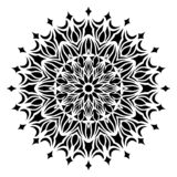 Linea arte in bianco e nero Mandala Illustration della foglia floreale immagini stock