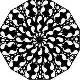 Linea arte in bianco e nero Mandala Illustration della foglia floreale illustrazione vettoriale