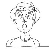 Linea arte colpita del ritratto uno dell'uomo Espressione facciale maschio sorpresa Siluetta lineare disegnata a mano dell'uomo Immagini Stock