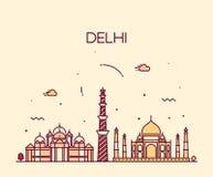Linea arte d'avanguardia dell'illustrazione dell'orizzonte della città di Delhi illustrazione di stock
