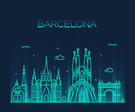 Linea arte d'avanguardia di vettore dell'orizzonte della città di Barcellona Immagine Stock