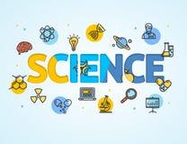 Linea arte del modello di ricerca di scienza della carta di concetto dell'icona Fotografie Stock