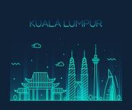 Linea arte dell'illustrazione di vettore di Kuala Lumpur Trendy Immagini Stock Libere da Diritti