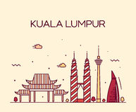Linea arte dell'illustrazione di vettore di Kuala Lumpur Trendy Fotografia Stock