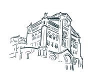 Linea arte della città di schizzo della chiesa del Monaco royalty illustrazione gratis