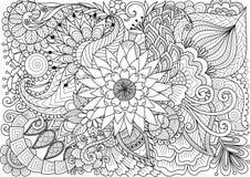 Linea arte di bei fiori per fondo e la pagina del libro da colorare per l'adulto ed i bambini Illustrazione di vettore Fotografia Stock