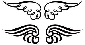 Linea arte di vettore di Angel Wings Ornament Clip Art Immagini Stock Libere da Diritti
