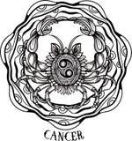 Linea arte disegnata a mano di cancro dello zodiaco Vettore Fotografia Stock Libera da Diritti