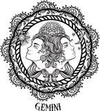 Linea arte disegnata a mano di gemini dello zodiaco Vettore Fotografia Stock Libera da Diritti