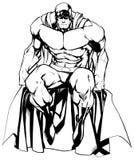 Linea arte isolata seduta del supereroe illustrazione di stock