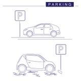 Linea arte Progettazione di parcheggio su un fondo bianco Segno di parcheggio Vettore delle automobili Fotografie Stock Libere da Diritti