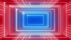 Linea astratta CICLO di rotazione 360 del fondo di musica di moto rosso-blu stock footage