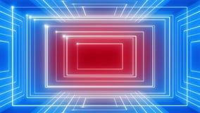 Linea astratta CICLO di rotazione 360 del fondo di musica di moto rosso-blu archivi video
