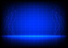 Linea astratta del circuito su fondo blu Immagini Stock Libere da Diritti