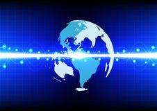 Linea astratta effetto del mondo dell'onda su tecnologia blu del fondo di colore Fotografia Stock