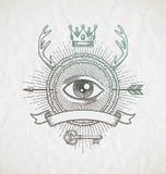 Linea astratta emblema di stile del tatuaggio di arte Fotografia Stock