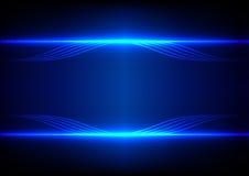 Linea astratta fondo blu di effetto della luce Fotografie Stock