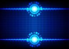Linea astratta zigzag e cerchio su fondo leggero blu Fotografie Stock
