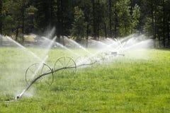 Linea attrezzatura agricola della ruota di irrigazione dello spruzzatore Fotografia Stock