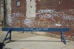 Linea barriera della polizia Fotografia Stock