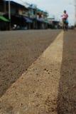 Linea bianca della strada Fotografie Stock