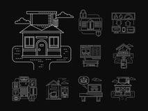 Linea bianca delle icone dettagliate domestiche di tecnologia Fotografia Stock