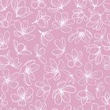 Linea bianca fiori del fiore su fondo rosa illustrazione di stock
