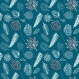 Linea bianca senza cuciture vario modello tropicale delle foglie sul fondo dei blu navy illustrazione di stock