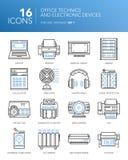 Linea bianca sottile dettagliata icone - tecniche e apparecchi elettronici dell'ufficio Immagine Stock