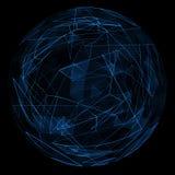 Linea blu astratta di incandescenza del globo Fotografia Stock