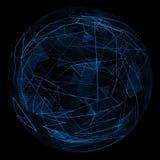 Linea blu astratta di incandescenza del globo Immagini Stock Libere da Diritti