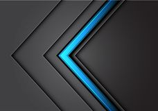 Linea blu astratta sovrapposizione grigio chiaro della freccia di direzione del metallo con futuristico di lusso moderno scuro di illustrazione vettoriale