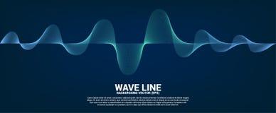 Linea blu curva dell'onda sonora su fondo scuro illustrazione di stock