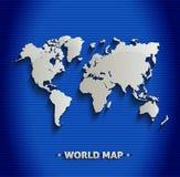Linea blu 3D della mappa di mondo Fotografia Stock Libera da Diritti