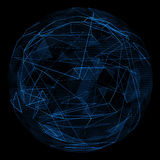 Linea blu di incandescenza del globo e triangolo astratti di opacità Immagine Stock Libera da Diritti