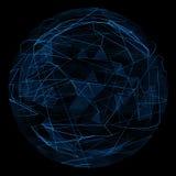 Linea blu di incandescenza del globo e triangolo astratti di opacità Fotografia Stock Libera da Diritti