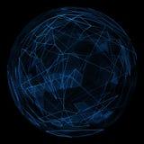 Linea blu di incandescenza del globo e triangolo astratti di opacità Immagine Stock