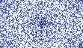 Linea blu elegante modello del fiore Fotografie Stock Libere da Diritti