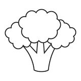 Linea broccoli dell'icona Fotografia Stock