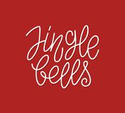 Linea calligrafica tipografia di Jingle Bells di arte Fotografia Stock Libera da Diritti