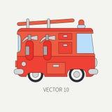 Linea camion dei vigili del fuoco piano dell'icona di colore di vettore Veicolo di assistenza di emergenza Stile del fumetto fire Fotografia Stock Libera da Diritti