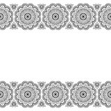 Linea carta di modello degli elementi del pizzo e tatuaggio floreali di Mehndi Henna Indian su fondo bianco Fotografie Stock